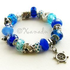 Turquoise Blue Bon Voyage Nautical Themed European Charm Bracelet With Ocean Animal Charms