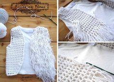 Chaleco de rejilla crochet con flecos - Patrones Crochet