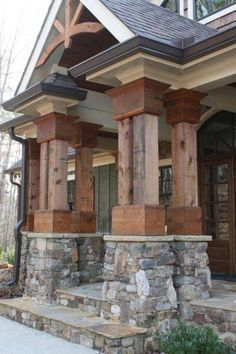 The combination of stone pillar bases and multiple timber posts yields an image of strength.