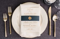 navy and gold table details