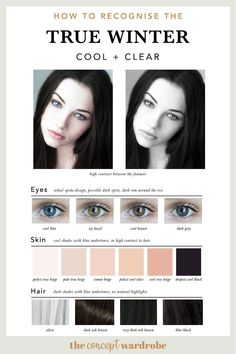 If you have just discovered that you are a True Winter in the seasonal colour analysis, find out which colours look best on you. Cool Winter Color Palette, Deep Winter Colors, Spring Color Palette, Soft Summer Palette, Winter Beauty Tips, Winter Typ, Clear Winter, Seasonal Color Analysis, Beauty And Fashion