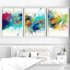 Set of 3 Abstract Multicolour Blue Pink Art Prints – Artze Wall Art 3 Piece Wall Art, Wall Art Sets, Wall Art Prints, Poster Prints, Posters, Watercolor Paint Set, Watercolor Paintings, Orange Wall Art, Grey Art
