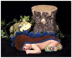 Angel Baby #J2613 - 2 infantil Crochet Dinosaur Costume fotografia Props crianças acessórios Beanie Animal chapéu de tricô padrões de(China (Mainland))