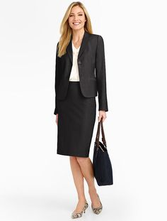 "Talbots: Seasonless Wool Jacket, $199. Black--of course--87% wool, 9%nylon, 4% spandex: a very nice blend. 21"" long."