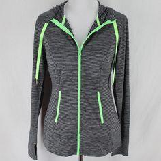 Lukka Hooded Sweatshirt Sz M Black Gray Stripe Athletic Zip Front Long Sleeve #Lukka #Hoodie