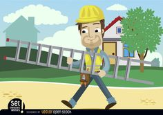 Cartoon worker with his helmet, equipment and tools carrying a ladder; there are houses and a tree behind him. Nice design to use in promos for construction companies or services.Commons 3.0. Attribution License.