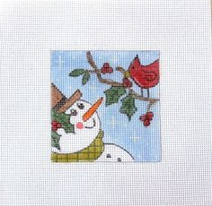 Snowman w/Red Bird and Holly Limb Handpainted Needlepoint Canvas #Unbranded