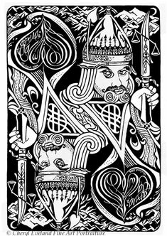 Several playing cards designed by Cheryl Eveland. The King of Spades Jack Of Spades, King Of Spades, King Card, Jack Of Hearts, Nyc Tattoo, Playing Cards Art, Skull Illustration, Card Tattoo, Pictures To Draw