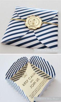 striped navy and gold invitation, laser cut #weddinginvitation