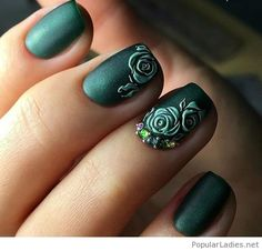 green-matte-nails-with-flowers-and-diamonds