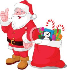 Royalty Free Clipart Image of Santa Claus With a Bag of Gifts