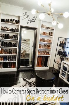 How to convert a spare bedroom into a closet with Ikea Billy bookcase hack and b. How to convert a spare bedroom into a closet with Ikea Billy bookcase hack and black, white, and gold decor Spare Room Closet, Spare Bedroom Closets, Dream Closets, Closet Office, Diy Bedroom, Bedroom Black, Master Closet, Shoe Closet, Bedroom Turned Closet