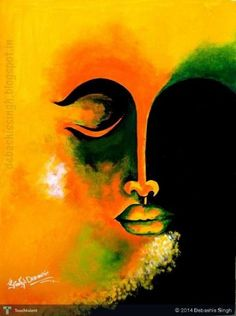 """""""An idea that is developed and put into action is more important than an idea that exists only as an idea."""" ~ Edward de Bono Art by: © Debashis Singh Title: The Buddha ॐ lis Simple Canvas Paintings, Easy Canvas Painting, Fabric Painting, Buddha Painting, Buddha Art, Buddha Canvas, Indian Art Paintings, Modern Art Paintings, Soft Pastel Art"""