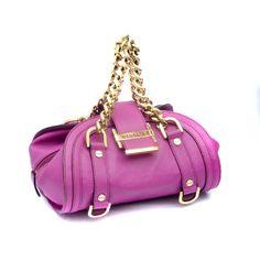 Versace Purple Leather Gold Chain Handbag