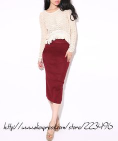 2013 WOMEN FALL American cotton sexy package back side slit Mid calf knitted PENCEL skirt