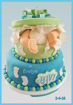 pastel baby shower niño, piecitos y nalguitas