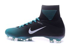 3a3956830 Luxury Nike Mercurial Superfly V ACC FG Football Boots Black Blue White Soccer  Shoes Indoor,