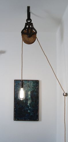 Antique Cast Iron & Wood Pulley Lamp - Vintage Industrial Edison Fixture