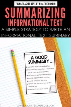 Do your students need help summarizing informational text? Use the TAAMIO strategy to write great informational text summaries. Teaching Main Idea, Teaching Writing, Teaching Tips, Writing Lessons, Math Lessons, Writing Resources, Middle School English, English Class, Learn English