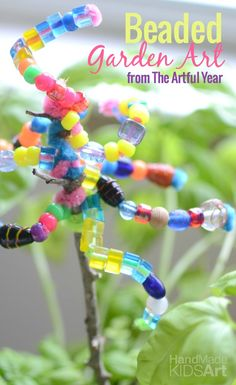 Beaded Garden Art - Such a fun and colorful activity for kids!