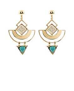 Gold Geo Stone Drop Earrings from New Look £7,99
