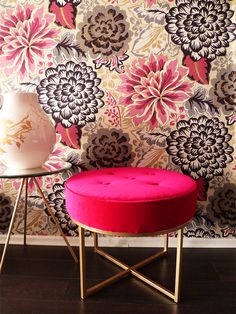 Kate Spade stool + floral wallpaper