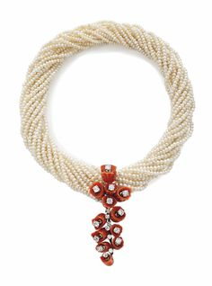 A Coral, Diamond and Seed Pearl Necklace by Cartier #ChristiesJewels