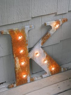 "Custom listing for Dianna R 14"" Rusted metal letter, light, distressed, wedding, vintage chic, decor. $140.00, via Etsy."