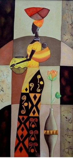 Using Art and Crafts in African Decor American Art, African, Art Painting, Tribal Art, Painting, Female Art, Art, African Art Paintings, Africa Art