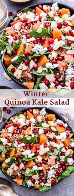 This Winter Quinoa Kale Salad is full of winter produce, hearty quinoa and peppery baby kale! It's a great alternative to your typical lettuce salad. Quinoa Salad Recipes Cold, Cold Quinoa Salad, Winter Salad Recipes, Lettuce Salad Recipes, Pasta Salad Recipes, Healthy Salad Recipes, Fruit Salad, Yummy Recipes, Keto Recipes