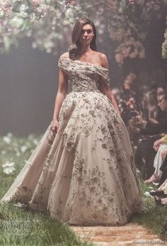 paolo sebastian spring 2018 couture off the shoulder heavily embellished bodice romantic princess ball gown a  line wedding dress (4) mv -- Paolo Sebastian Spring 2018 Couture Collection