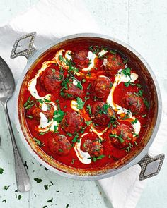 These Turkish meatballs are made with lamb mince, lots of fresh herbs and served in an intense tomato sauce. Drizzle over cooling plain yoghurt to serve. Tomato Sauce Recipe, Sauce Recipes, Beef Recipes, Cooking Recipes, Recipies, Lamb Mince Recipes, Meatball Recipes, Scottish Recipes, Turkish Recipes