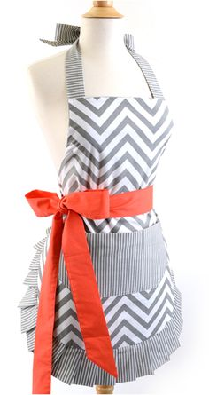 Womens Apron: Chevron Coral Bow Retro Womans Apron