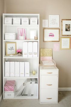Pretty Home Office Organizing Ideas- A pretty bookshelf holds lots of supplies