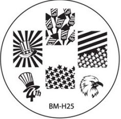 Bundle Monster plate BM-H25 Holiday Collection 2013 4th of July fireworks stars and stripes, hat, eagle