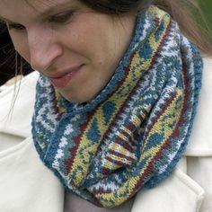 Fair isle knit coffee shop cowl.  Ravelry.