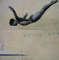 "Tracy Hamer; Enamel 2013 Painting ""diver"""