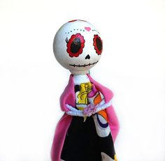 day of the dead peg dolls | skull peg doll / clothespin doll / wooden hand-painted doll / day ...