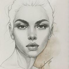 Secrets Of Drawing Realistic Pencil Portraits - Pencil Portrait Mastery - H a m d a A l m a n n a i ♡ Hamda Al Mehairi. Face Sketch, Sketch Art, Drawing Sketches, Pencil Drawings, Art Drawings, Horse Drawings, Pencil Art, Sketching, Female Face Drawing