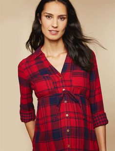 Button Front Maternity Tunic, Red Plaid