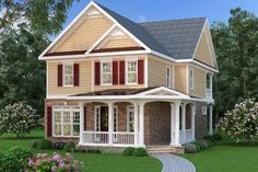 Traditional Style House Plan - 3 Beds 2.5 Baths 2698 Sq/Ft Plan #419-273 Exterior - Front Elevation - Houseplans.com
