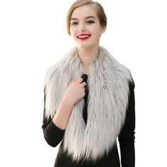 Winter Warm Women Fashion Fake Fur Collar Scarf Shawl Article Warm Big Raccoon Cap Tide #Affiliate