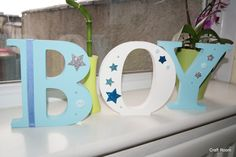 """White and blue lettering """"BOY"""" Freestanding Wooden Letters, Symbols, Lettering, Boys, Crafts, Handmade, Baby Boys, Manualidades, Hand Made"""