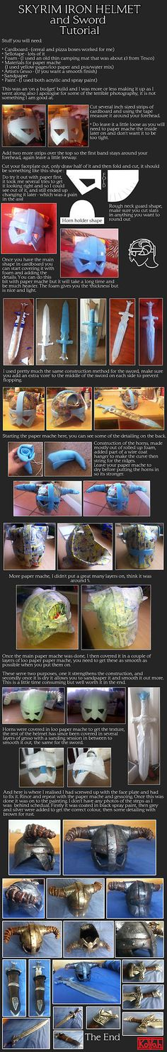 Skyrim Helmet and Sword Tutorial (Paper Mache / foam)
