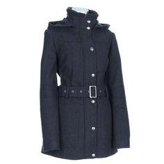 Hooded Wool Blend Coat with Belt -Petite