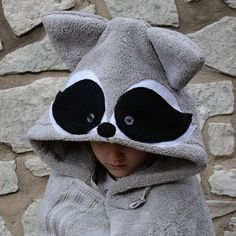 Raccoon Hooded Towel / Baby Hooded Towel / Child Hooded Towel / Christmas Gift for Baby / Woodland A