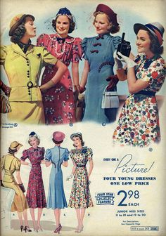 Dresses for young women, from Sears catalog, spring/summer 1938.