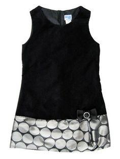 Black Velvet & Silver Dot Dress