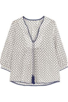 Talitha+Printed+cotton+and+silk-blend+voile+top+ +NET-A-PORTER