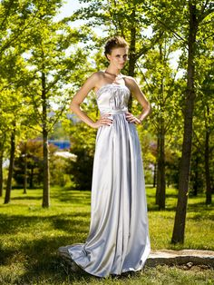 Silver Strapless Full Length Evening Gown